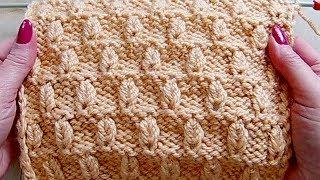 Рельефный узор с выпуклыми листочками Вязание спицами 282