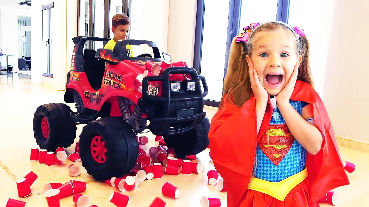 Diana turns into superheroes with magical costumes for kids