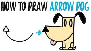Dil ile Ok Kolay Adım Adım Çizim Öğretici Çocuklar için bir Karikatür Köpek ortaya çıkarmak için nasıl