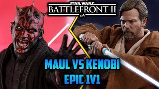 1v1 Darth Maul Vs Obi-Wan Kenobi Lightsaber Duel! Star Wars Battlefront 2 Duels!