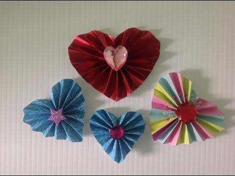 Corazones de papel en forma de acordeon accordion hearts - Manualidades corazones de papel ...