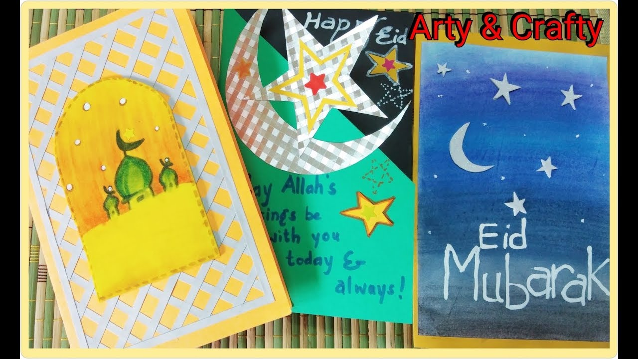 diy 3 easy  unique eid greeting cardeasy eid cardpaper