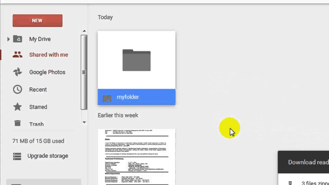 How to download shared folder in Google drive