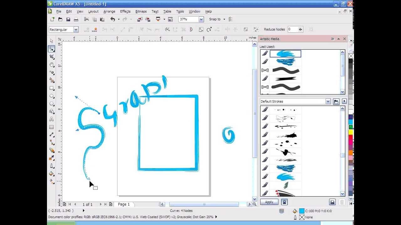 Corel draw tutorial - Artistic Media Tool - Full free Video Training Tamil  template DVD
