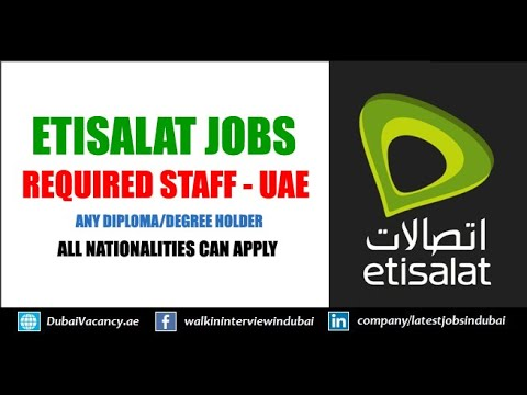 How to Find jobs in Etisalat Dubai UAE