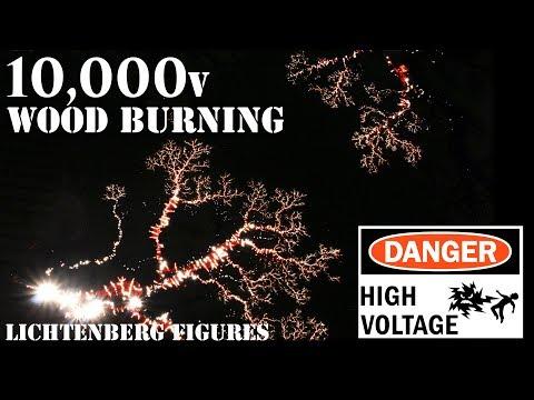 10,000v Wood Burning Experiments