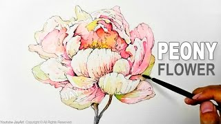 How to Draw & Paint a Peony Flower with Ink and Watercolor - Level 5