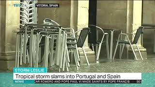 Tropical storm slams into Portugal and Spain