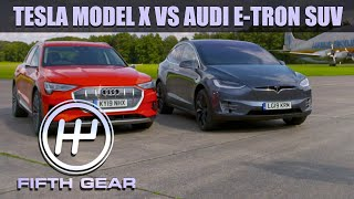 Tesla Model X VS Audi e-tron SUV - the all electric dog fight! | Fifth Gear