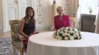 Melania Trump has tea with Poland's First Lady (6 Jul 2017) The Polish first lady hosted Melania Trump for tea during a brief visit as President Donald Trump attends events in the Polish capital on Thursday., From YouTubeVideos
