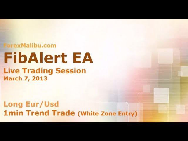 March 7, 2013 FibAlert EA – Long Eur/Usd  – 1m Trend WZ entry- Forex Day Trading Software