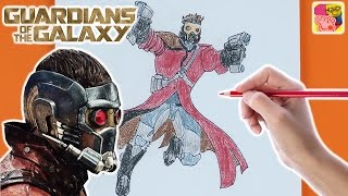 How To Draw And Color In Star Lord 🌍 Guardians Of The Galaxy 🌍 Drawing For Kids 🎨 Crafty Kids