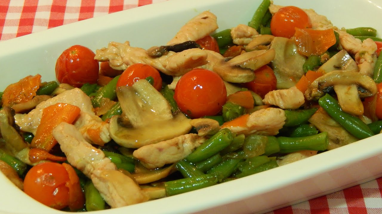 Receta f cil de verduras salteadas con pavo youtube - Como hacer verduras salteadas ...