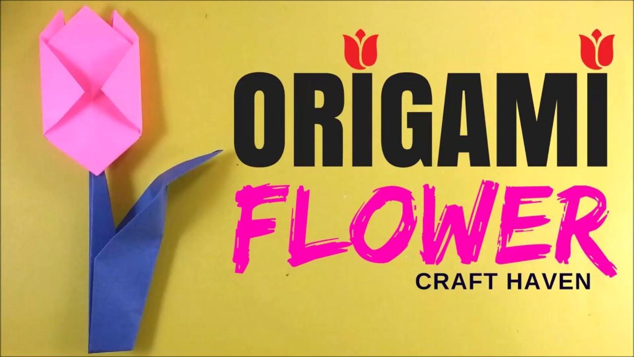 How to make easy origami flower origami tutorial for beginners how to make easy origami flower origami tutorial for beginners origami tulip paper flower diy mightylinksfo Gallery