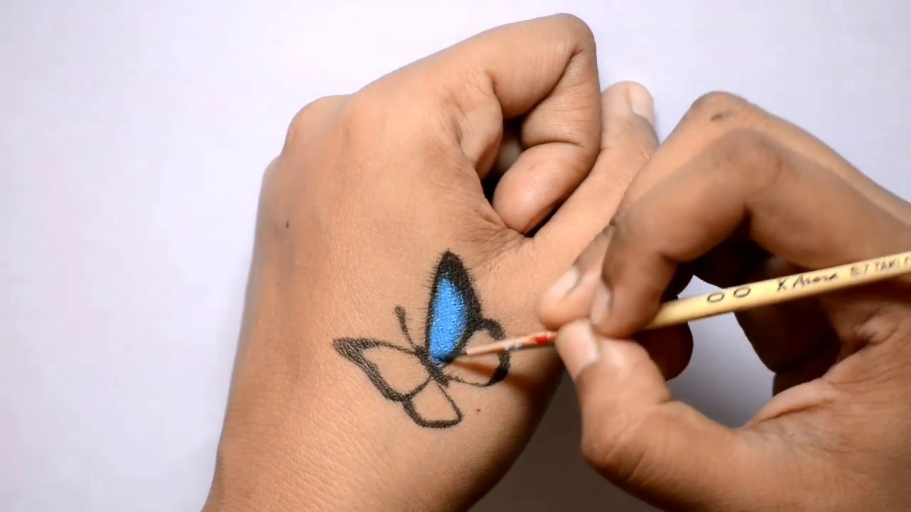 6b882145b How to draw 3D butterfly| 3D tattoo| easy and simple butterfly tattoo on  hand| butterfly drawing
