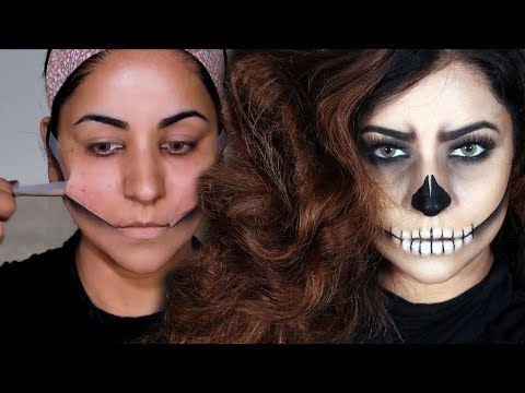 EASIEST SKULL MAKEUP TUTORIAL EVER!! Using Tape & Stick | Halloween 2019 | Giveaway #2 thumbnail