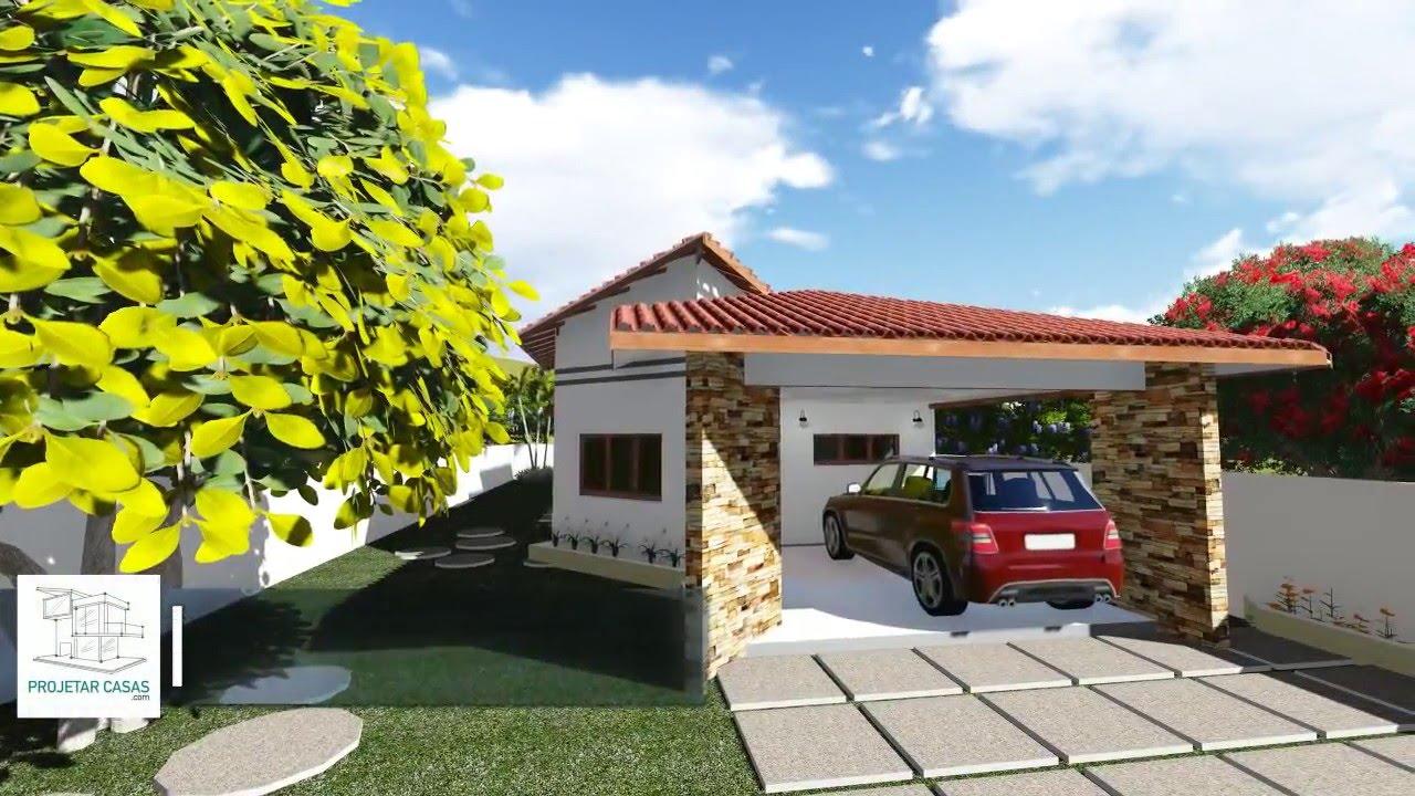 Planta de casa t rrea com 2 quartos 1 su te garagem for Fotos de casas modernas tipo 2