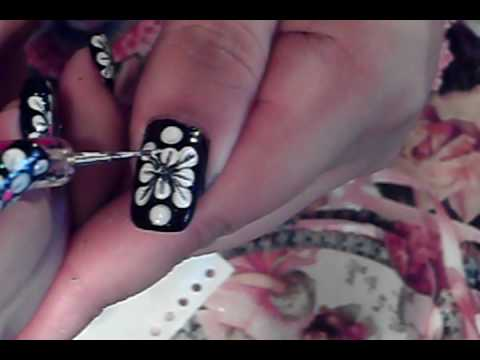 Easy to do nail art design tutorial black white pink