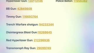 Roblox weapon gear codes - YouTube