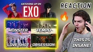 Catching Up On: EXO - Monster M/V + Tempo M/V + Love Shot M/V + Obsession M/V | REACTION