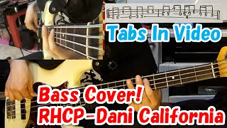 Dani California-RHCP Bass Cover! Movie theme song 「DEATH NOTE」 Tabs In Video