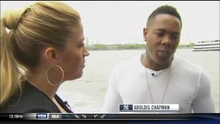 Aroldis Chapman visits the Statue of Liberty