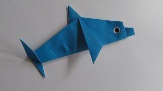 ДЕЛЬФИН Легкое Оригами из Бумаги для Начинающих / Еasy Origami Dolphin