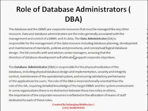 Role Of Database Administrators Or Dba  Database Management System