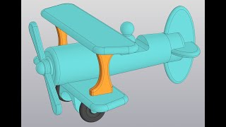 Видеоуроки Компас 3D V18. Сборка самолетика. 6 Колесо, вертикальная поперечина