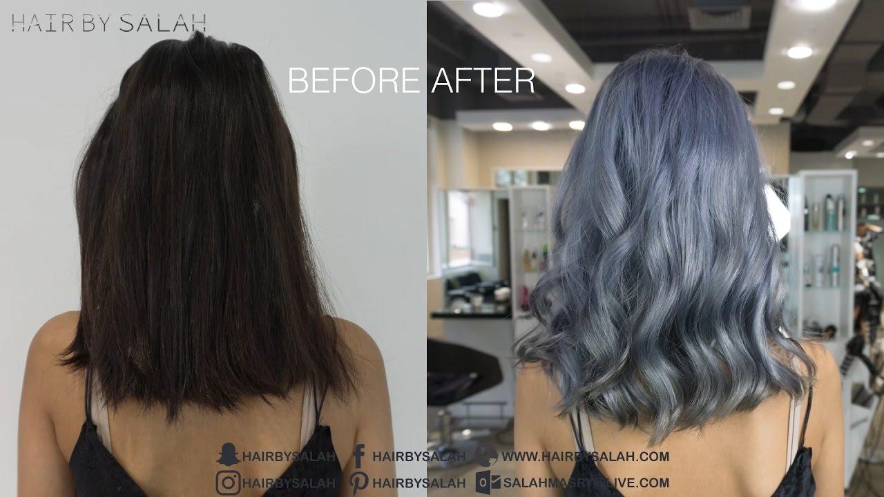 Silver Gray Hair Color - Color Melting Technique - YouTube
