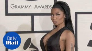 Nicki Minaj takes the plunge on the Grammys red carpet - Daily Mail