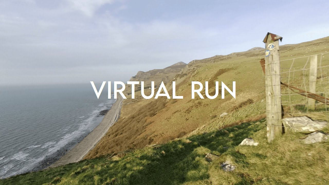 25 Min Virtual Treadmill Run / Hilly / Welsh Coastal Path Cliff Run with GPX File for Treadmill Sync