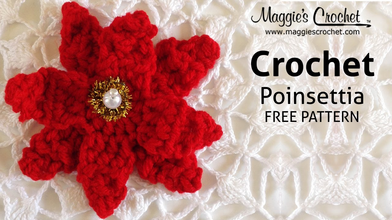 Poinsettia Free Crochet Pattern - Right Handed - YouTube