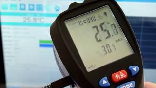 Пирометр - регистратор температуры, даталоггер IR-861U в работе(Пирометр регистратор температуры ir-861u в режиме онлайн передает данные на ноутбук для построения графика..., 2016-10-18T22:51:38.000Z)