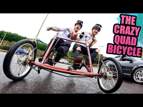 THE CRAZY QUAD BICYCLE - FULL SPEED SIDE BY SIDE FREERIDE! thumbnail