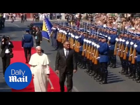 Pope urges for peace in Bosnia-Herzegovina during visit - Daily Mail