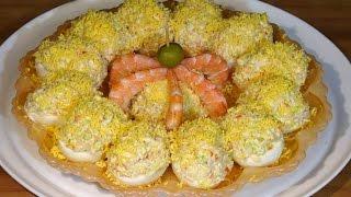 Receta Huevos rellenos de marisco - Recetas de cocina, paso a paso. Tutorial. Loli Domínguez