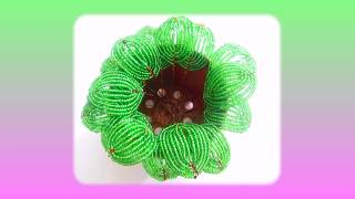 Бисероплетение.  Урок № 8.   Технология изготовления овальных листьев из бисера  для цветка  фиалки.