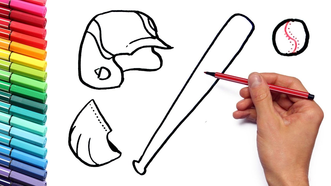 Drawing Baseball Sport Equipment Coloring Page How To Draw And ...