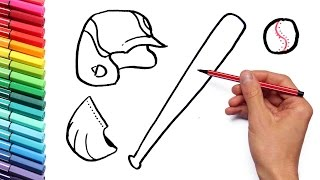 Drawing Baseball Sport Equipment Coloring Page How To Draw And Learning Colors For Children