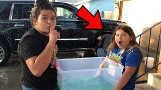 SLIME PRANK ON OUR DAD!!