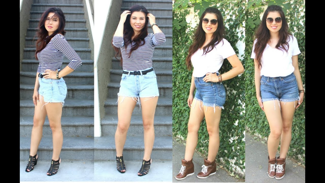 OOTD How I dress up & down high waisted shorts! - YouTube