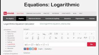Equations: Logarithmic