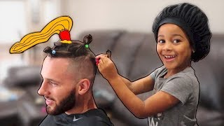 Silly Hair Prank on Daddy! FamousTubeKIDS