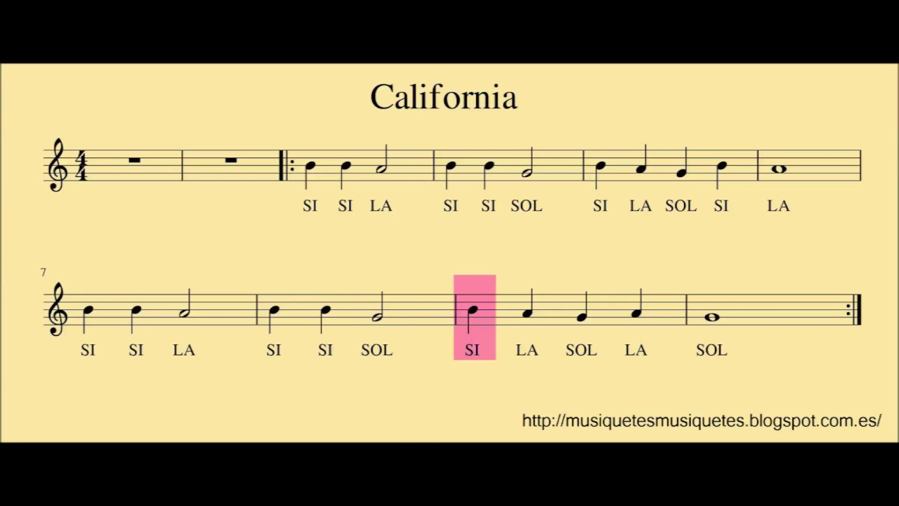 """Resultat d'imatges per a """"california per flauta"""""""