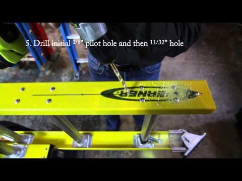 Levelok Permanent Mount Ladder Levelers Installation on Werner D7100 2 Extension Ladder