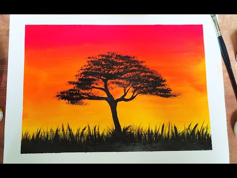 Acrylic Landscape Painting Tutorial For Beginners Step By Step Sunset Painting Acrylic Easy Simple Painting With Oil Paints