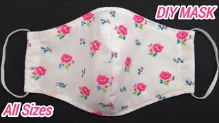 ALL SIZES VERY VERY EASY 3 LAYER PATTERN MASK Face Mask Sewing Tutorial DIY Cloth Face Mask Easy