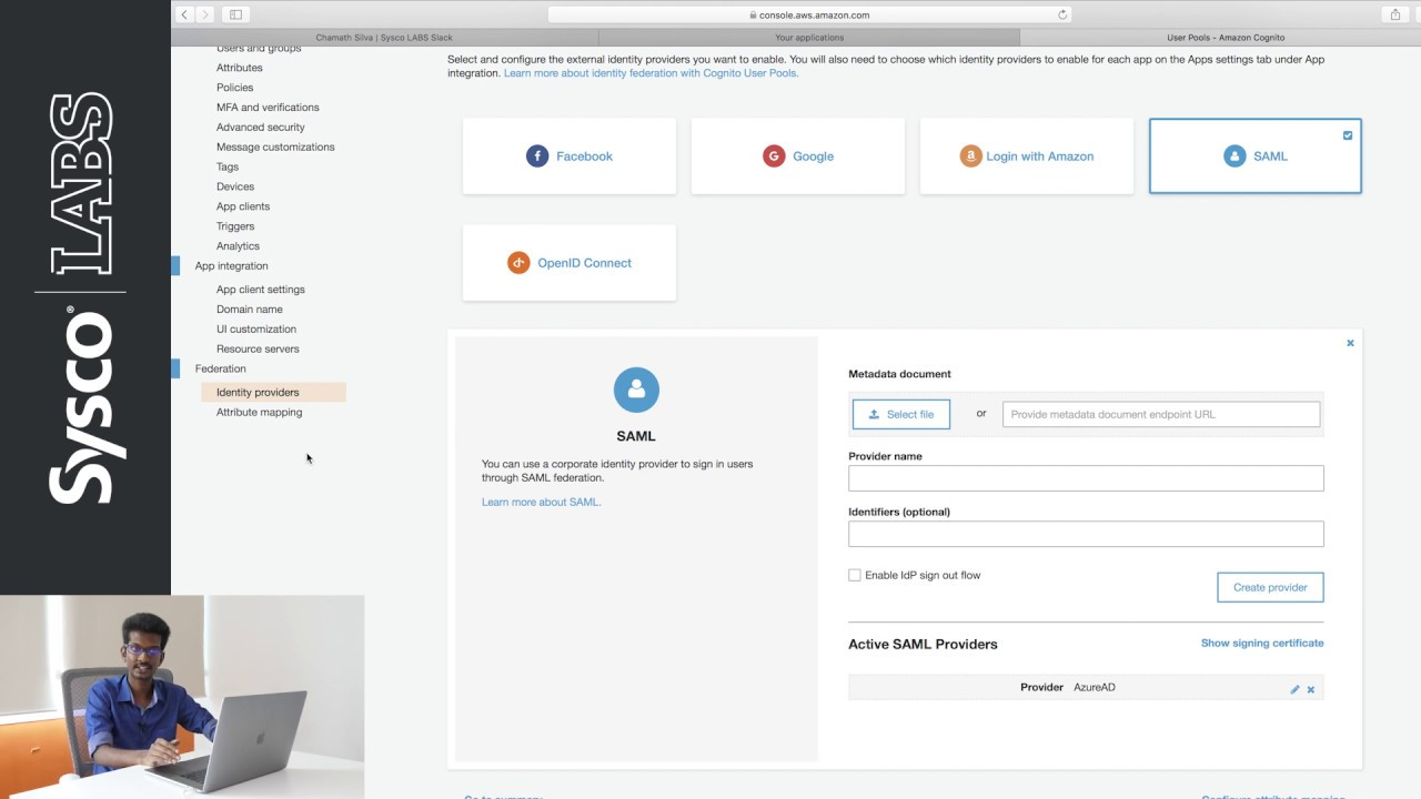 AWS Cognito User Pool with an Azure AD Identity Provider (SSO) || Sysco  LABS Tutorials