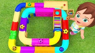 Learn Colors for Children with Little Baby Girl Fun Play Color Balls Xylophone Slider ToySet 3D Kids